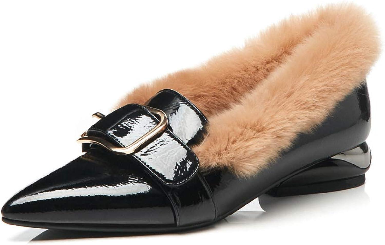 KFDQ Niedrige Schuhe Für Frauen, Herbst Und Winter Mit Quadratischer Schnalle, Dicke, Niedrige, Lässige Warme Damenschuhe Für Zu Hause, Im Freien Usw.  | Beliebte Empfehlung