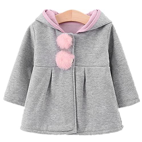 Jinchelle Abrigo de mezcla de algodón para bebé con capucha para el pelo y orejas de conejo, para otoño e invierno, gris, 18-24 Meses