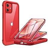 Miracase 360 Grad Hülle Kompatibel mit iPhone 12/12 Pro (6.1 Zoll), Ganzkörper Schutzhülle mit eingebauter Glas Bildschirmschutzfolie, Stoßfeste Fullbody Handyhülle, Rot