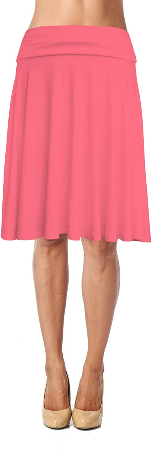 Womens Basic Max 80% OFF Soft Stretch Mid Midi Knee Flowy Selling and selling Flare Skirt Length