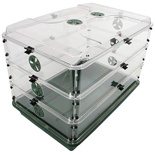 "EarlyGrow 24"" x 15"" x 16.75"" Domed Propagator with 3 Height Extenders and Locking Clip Set, Green, 3 Side"