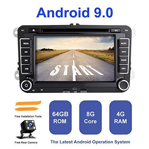 ZLTOOPAI Android autoradio stereo, voor VW Seat Skoda dubbele diner Head Unit Android 9,0 Octa Core 4G RAM 64G ROM 7 inch capacitief HD multi-screen auto stereo GPS radio met vrije achteruitrijcamera