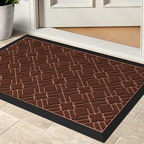 KMAT Door Mat Inside Outside,Anti-Slip Durable Rubber Doormat Indoor Outdoor Front Door Mat Rugs for Entryway,Patio,Lawn,Garage,High Traffic Areas(Low-Profile Design,30x17 inches,Brown)
