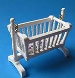 Puppenwiege Schaukelwiege Wiege Kinderzimmer Puppenhausmöbel Miniatur 1:12 (weiss)