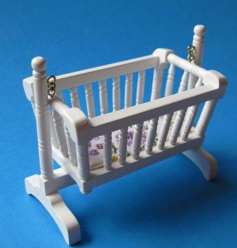 Unbekannt kołyska dla lalek kołyska kołyska kołyska do pokoju dziecięcego meble domku dla lalek miniatura 1:12 (biała)