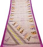 PEEGLI Vintage Indisch Sari Weiß Ethnisch Tragen Die Seide