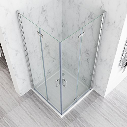 MIQU 700 x 700 mm Shower Enclosure Cubicle Door Corner Entry Bathroom 6mm Safety Easy Clean Nano Glass Bifold Door Frameless - No Tray