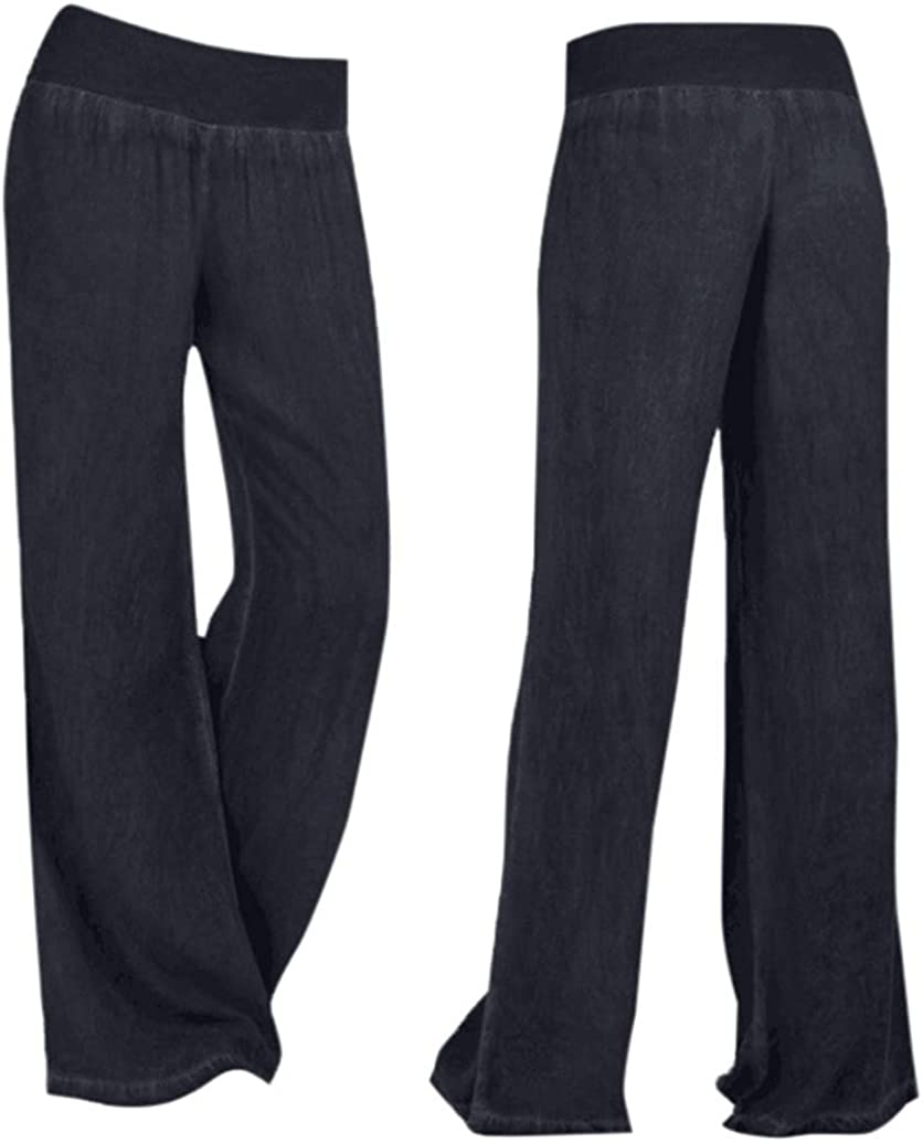 FUNEY Women Casual Denim Wide-Leg Pants,Flare Jeans Elastic Waist Size Plus Classic Palazzo Pant Jean Trousers