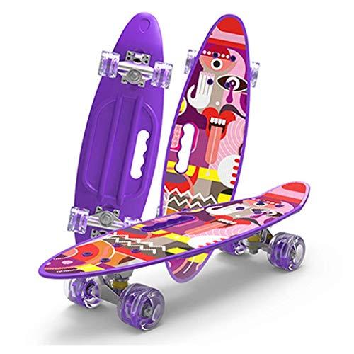 QINGJIA Patinetas, Viajes Junta scooters de 4 ruedas infantil universal de los adultos principiantes niños y niñas Uso Road la calle cepillo 61 Monopatín púrpura (color púrpura, tamaño: 61 * 18 * 10 c
