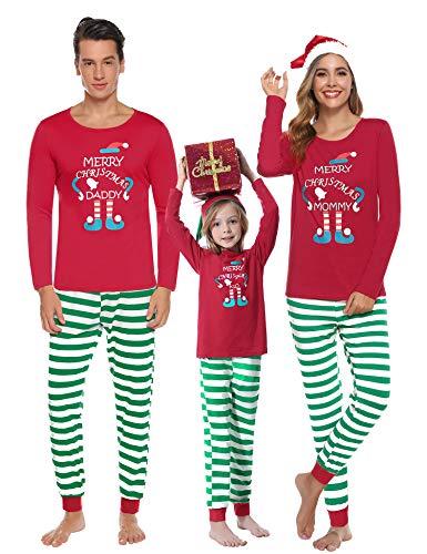 Aibrou Pigiama Famiglia Natale Set, Pigiama Natalizio Famiglia per Neonato Bambino papà Mamma, Pigiami Natale per Famiglia Manica Lunga e Pantaloni a Righe, Pigiami Famiglia Coordinati