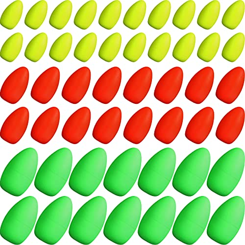 60 Pieces Foam Floats Bullet Fishing Foam Snell Floats Fishing Rig Floats Spinner Rig Floats Pompano Rigs Floats Oval Fly Fishing Strike Indicators for Trout Catfish Walleye (Yellow, Green, Red)