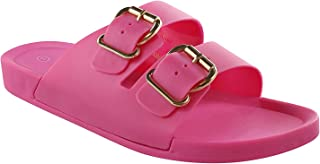 Twisted Gilly Women's Sandals | Ladies Slides Double Buckle Strap Platform Flats
