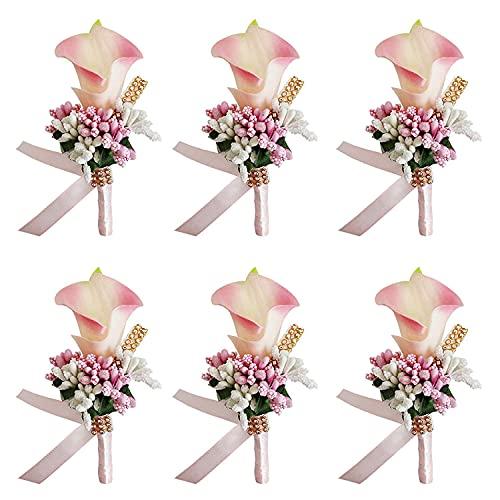 KSSPNL (Rosa) 6 Broche De Dama De Honor para Padrino De Boda Boutonniere Flor De Boda Boutonniere Calla Lily Set