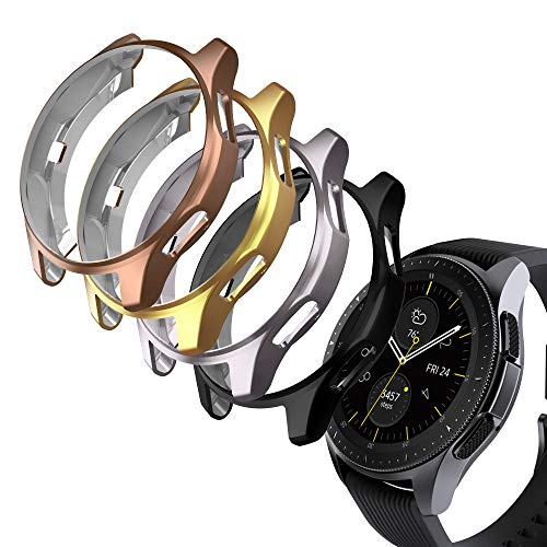 GeeRic 4X Kompatibel Für Samsung Galaxy Watch 46mm und Gear S3 Silikon Hülle,Ultra Schlank Dünn TPU Gel Gummi Weiche Haut Silikon Schutzhülle Flexible Anti-Scratch Stoßfängerabdeckung