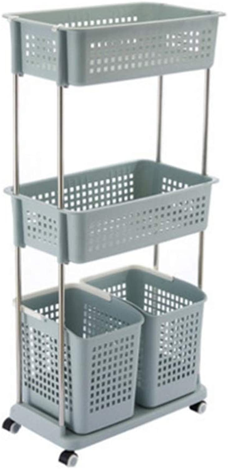 Laundry Hamper Multi Layer Plastic Storage Basket for Household Use ZHANGQIANG (color   bluee, Size   56  34.5  120cm)