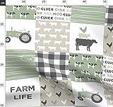 Bauernhaus, Wholecloth, Schweine, Kühe, Traktor Stoffe -