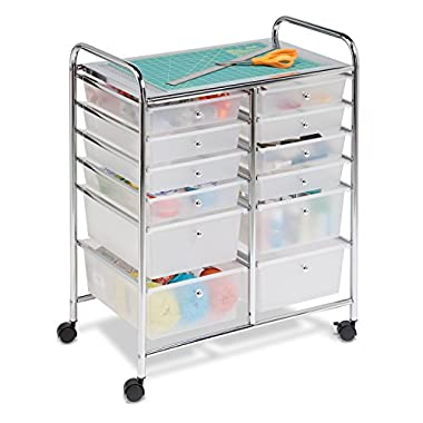Honey-Can-Do Rolling Storage Cart and Organizer with 12 Plastic Drawers
