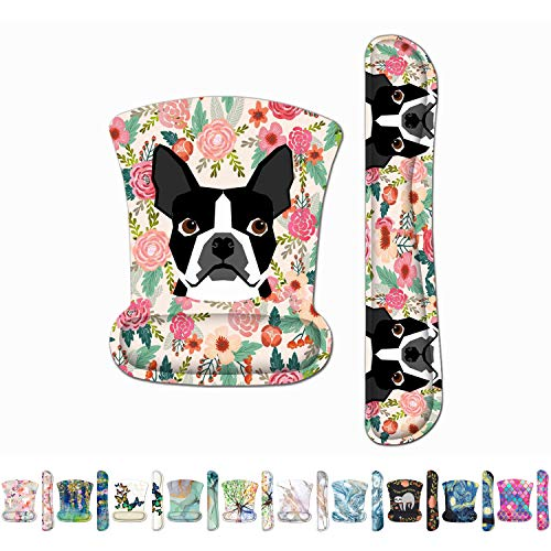 Britimes Ergonomic Keyboard Wrist Rest Mouse Pad with Wrist Support Black Boston Terrier Flower Non-Slip Rubber Base Mousepad for Home Office Gaming Working Computers Laptop Easy Typing & Pain Relief