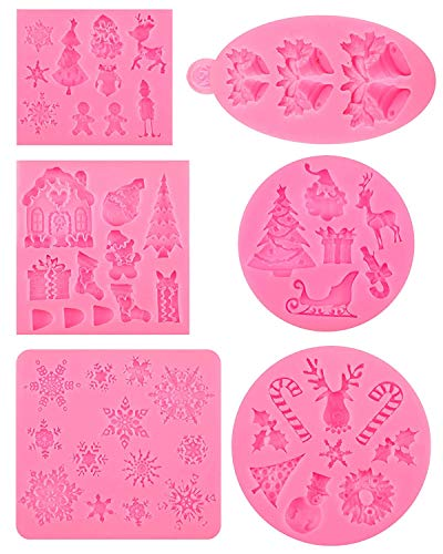 6 Pieces Christmas Silicone Fondant Molds, Santa Claus Snowflake Christmas Tree Reindeer Candy Bell Chocolate Silicone Molds Baking Tool for Xmas Birthday New Year Party Cake Decoration