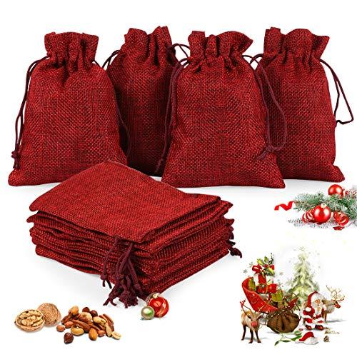O-Kinee Adventskalender zum Befüllen,24er Set Jutesäckchen,Stoffbeutel,DIY Handwerk,Natur Säckchen,Geschenksäckchen Weihnachten, für Weihnachtskalender DIY, 13cm x 18cm(rot)