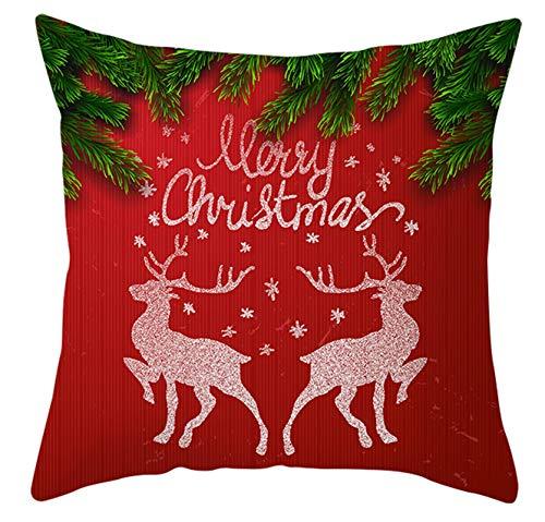 Socoz Fundas de Navidad rectangulares, 50 x 50 cm, par de fundas Amore de poliéster, rojo y verde