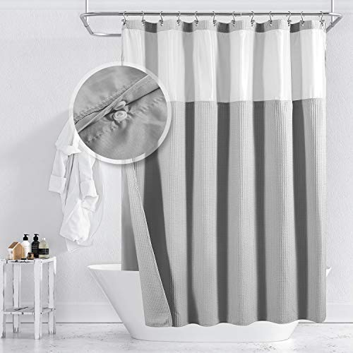 Barossa Design Cotton Blend Waffle Weave Shower Curtain with...