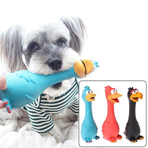 ECMQS 1 stück Spielzeug Für Hunde, Schreien Gummi Huhn Spielzeug Für Hunde Latex Squeaker Chew Ausbildung Produkte (Rot)
