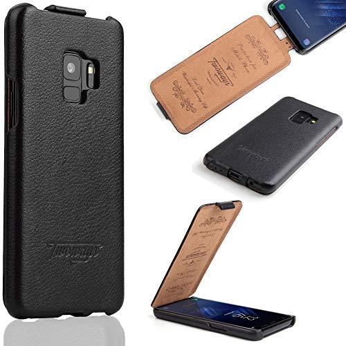 Twoways Samsung Galaxy S9 Hülle Leder | Stoßfeste, schlanke echt Leder Handyhülle für das Samsung S9 | Flip Hülle Schutzhülle in Schwarz