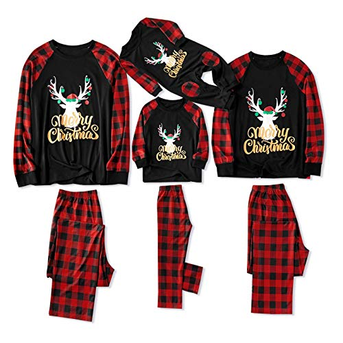 IFFEI Matching Family Pajamas Sets Christmas PJ's with Letter and Plaid Printed Long Sleeve Tee and Pants Loungewear (X-Large, Black-Gold Letter-Men)