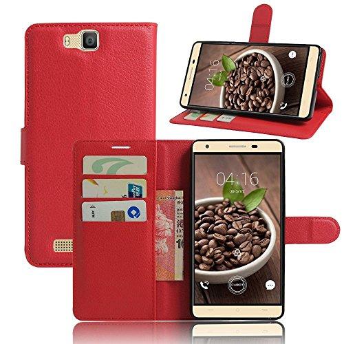 Tasche für Cubot H2 Hülle, Ycloud PU Ledertasche Flip Cover Wallet Case Handyhülle mit Stand Function Credit Card Slots Bookstyle Purse Design rote