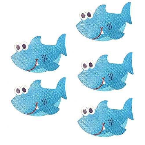 joyMerit 5pcs Antirutsch Badewannenaufkleber Pads Dusche Sticker für Kinder - Haifisch, 140x 90mm