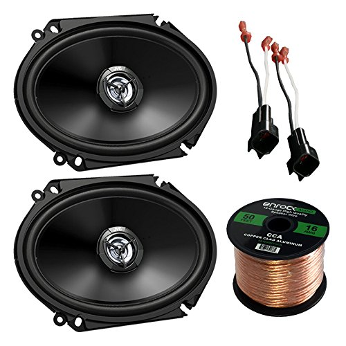 Car Speaker Package of 2X JVC CS-DR6820 300-Watt 6x8 Inch 2-Way Vehicle Stereo Coaxial Speakers Bundle Combo with Speaker Connectors for Select GM Vehicles + Enrock 50 Ft 16G Speaker Wire