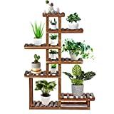 TOOCA Wood Plant Stand Indoor, 44'' 7 Tier Outdoor Tall Plant Stand, Flower Stand, Multiple Tier Plant Display Rack Holder, Steady Vertical Carbonized Shelves for Patio Livingroom Balcony Garden