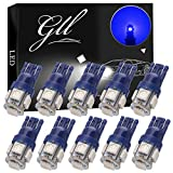 GLL 10pcs Bleu Super Lumineux T10 194 168 W5W 501 LED Ampoules avec 5-5050-SMD Pour Voiture Intérieur Dôme Carte Porte Tronc Tableau de Courtoisie Lumières de Plaque D'immatriculation(DC 12V)