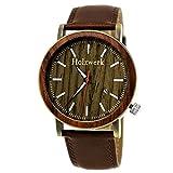 Hecha a Mano de Madera de Alemania®–Reloj de Hombre con Certificado de Madera Natural Reloj Pulsera de Piel de Reloj analógico clásico Reloj de Cuarzo marrón Oro Fecha Madera Esfera