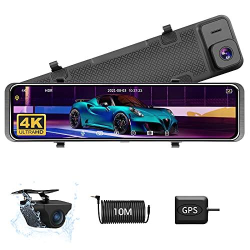 【4K più recente】 12 pollici 4K Dash Cam Specchietto Retrovisore Auto con GPS Dash cam Anteriore e Posteriore con Telecamera Posteriore Impermeabile HDR Anteriore e Posteriore Visione Notturna