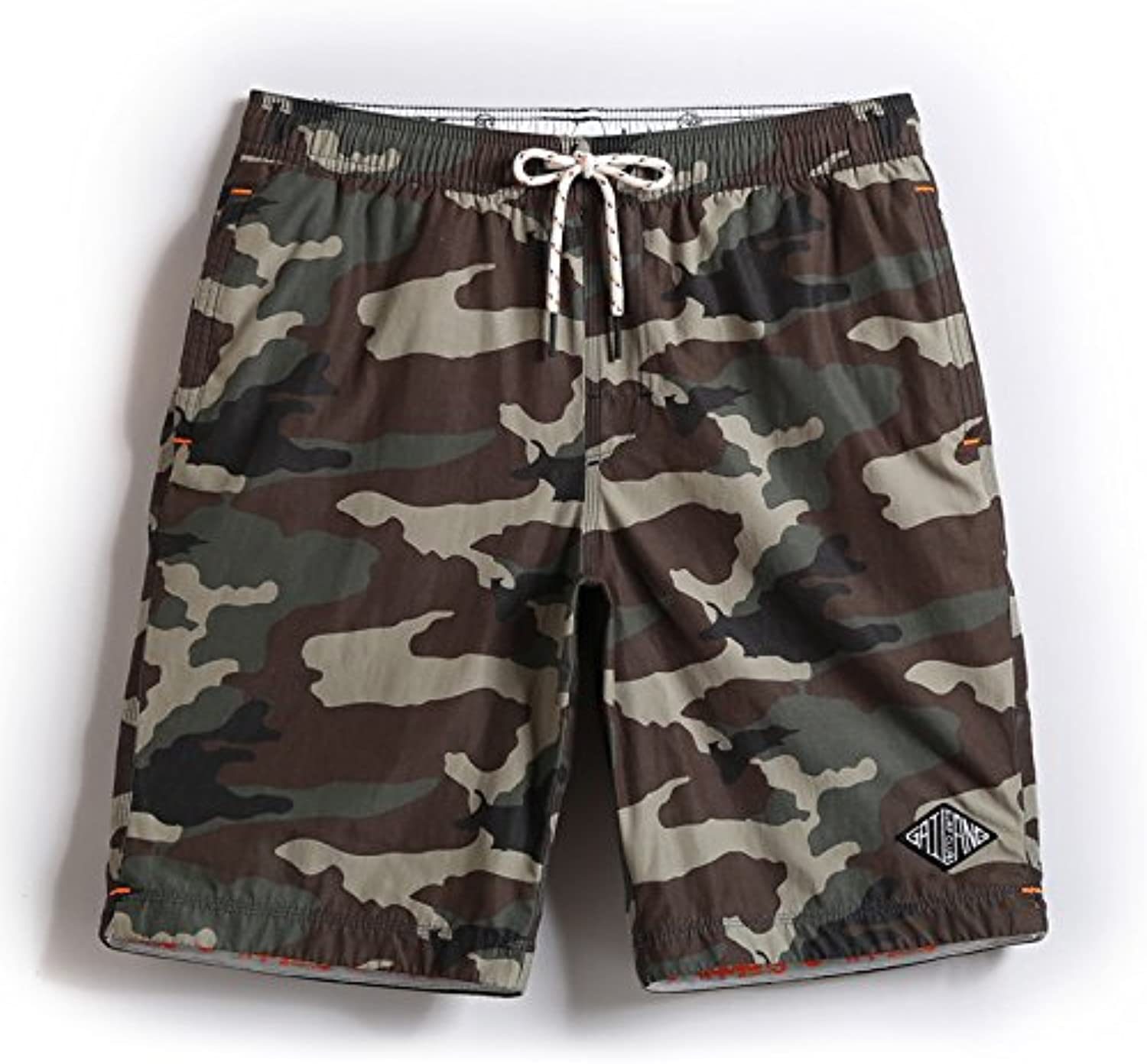 HAIYOUVK Holiday Slim Men Beach Pants Camouflage Print Casual Shorts Water Series Cropped Trousers