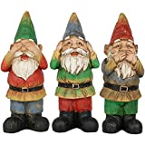 Sunnydaze Three Wise Garden Gnomes - Hear, Speak, See No Evil Set - Outdoor Lawn Statues, 12 Inch Tall Each