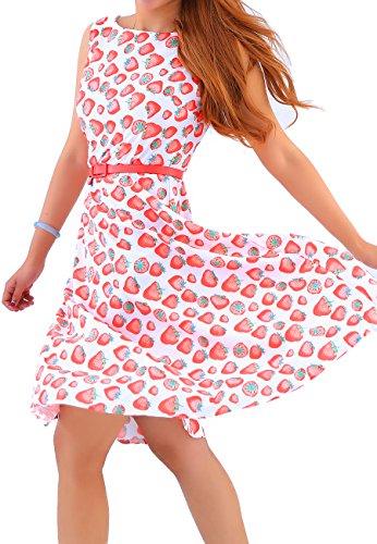 OMZIN Damen Kleid Vintage Retro Blumen Cocktailkleid Swingkleid A-Linie Partykleid Kleider Ball Kleid Rosa XS