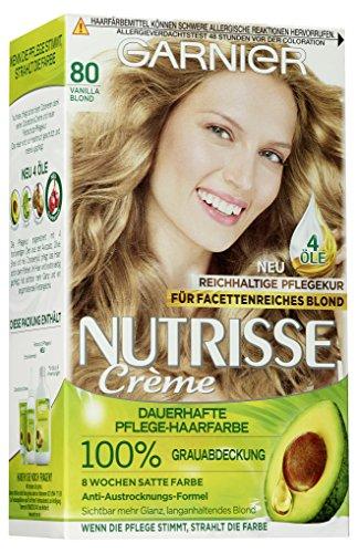 Garnier Nutrisse Creme Coloration Vanille Blond 80 / Färbung für Haare für permanente Haarfarbe (mit 3 nährenden Ölen) - 3 x 1 Stück