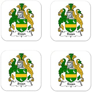 MyHeritageWear.com Swan Family Crest Square Coasters Coat of Arms Coasters - Set of 4