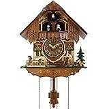 SXFJF Los Relojes De Cuco, Hechos A Mano De Madera De Cuarzo Reloj Antiguo Clocks- De Viajeros Y Perro, Número Romano Decoración del Hogar, 32 × 28 × 17 Cm