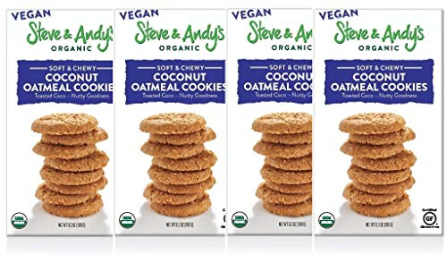Organic Vegan Oatmeal Coconut Cookies, Gluten Free by Steve and Andy's -- Soft, and Chewy Cookie, Non GMO, No Corn Syrup, No Tree Nuts, Kosher (Oatmeal Coconut - Vegan, 4 Boxes)