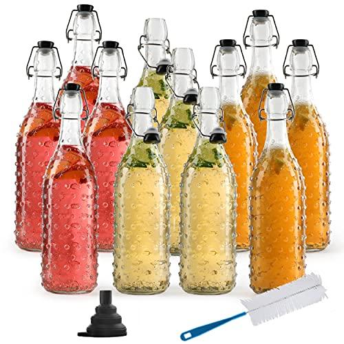 Chef's Star Glass Swing Top Beer Bottles, 1 Litter 32 oz, Flip Top Brewing Bottles, For Kombucha, Juice, Water, Case of 12 (Modern Embossed Dot)