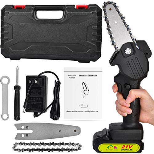 Chainsaw Cordless 4''Mini Handheld Pruning Electric Chain Saw Charging Portable with Brushless Motor One-Hand Lightweight Garden Tools for Courtyard Pruning Power Shears Tree Branch Wood Cutting Black