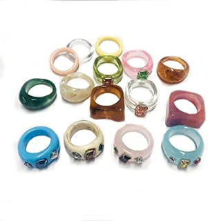 Colorful Resin Rings for Women,Chunky Acrylic Rings with Rhinestones Set,Fashion Stacking Rings, Y2K Style Vintage Cute Ca...