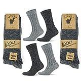 Go With Collection 4 Paar Alpaka Socken für Damen und Herren Kuschelsocken Wintersocken warme und flauschige Stricksocken Wollsocken