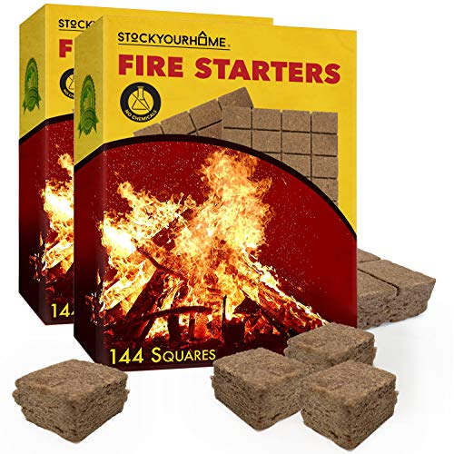 Stock Your Home Vegetable Oil Fire Starters (288 Squares) - Eco-Friendly Grill Fire Starters - No Kindling Required - Fire Starter Squares for Campfires, Grills, Coal Stoves, Fire Pits, Fireplaces