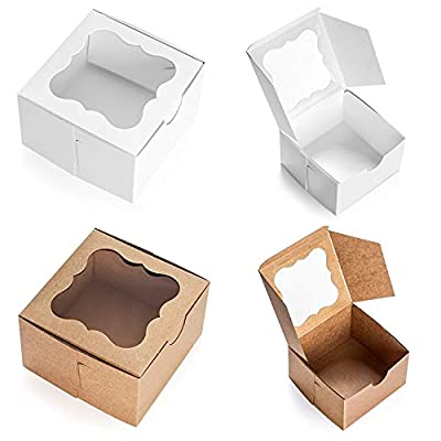 25 Pack White Bakery Box with Window 4X4X2.5 inch Eco-Friendly Paper Cardboard. Gift Packing Boxes for Pastries, Cookies, Small Cakes, Pie