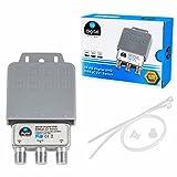 1x DiseqC Schalter SE Switch 2/1 mit Wetterschutzgehäuse HB-DIGITAL 2X SAT LNB 1 x Teilnehmer / Receiver für Full HDTV 3D 4K UHD -